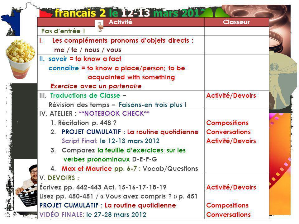 Lentrée. français 2 Choisissez le verbe réfléchi ou non-réfléchi et conjuguez-le correctement.
