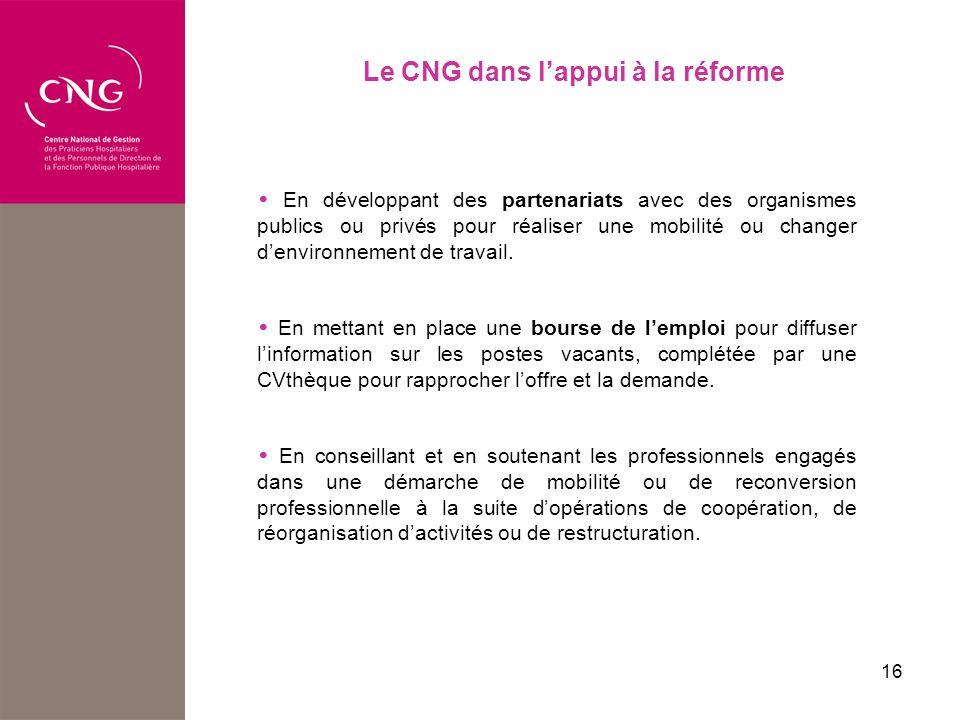 16 Le CNG dans lappui à la réforme En développant des partenariats avec des organismes publics ou privés pour réaliser une mobilité ou changer denvironnement de travail.