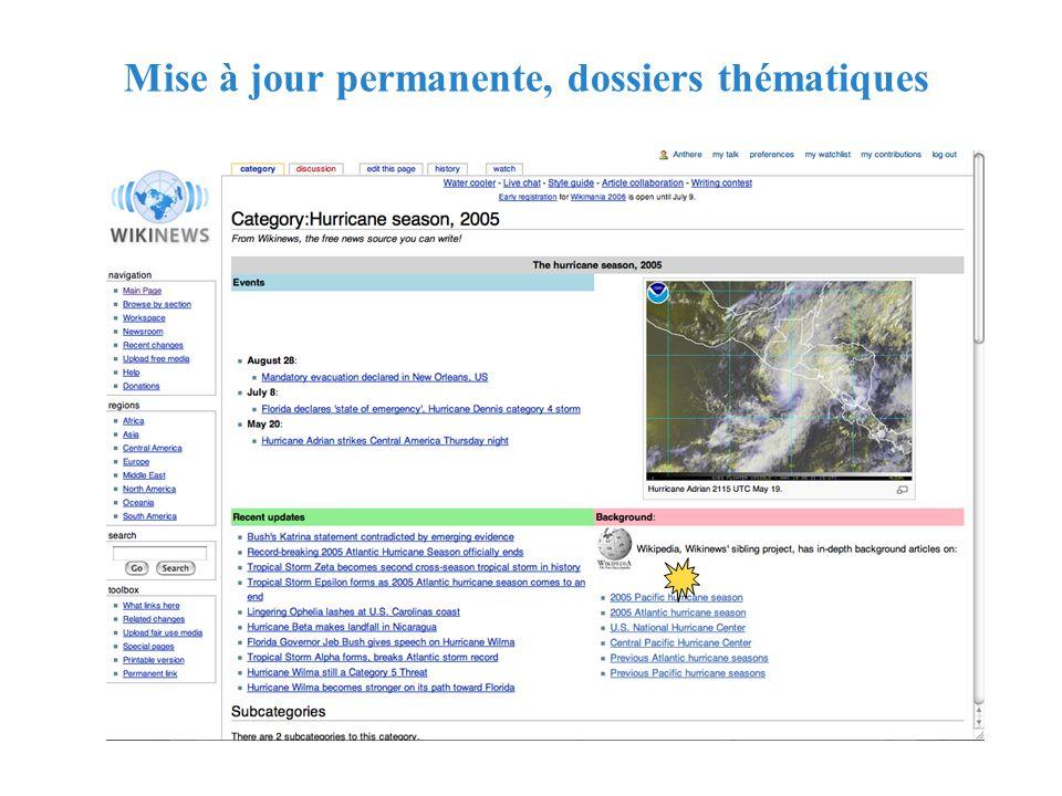 RMLL - Juillet 2006 - Florence Devouard Mise à jour permanente, dossiers thématiques
