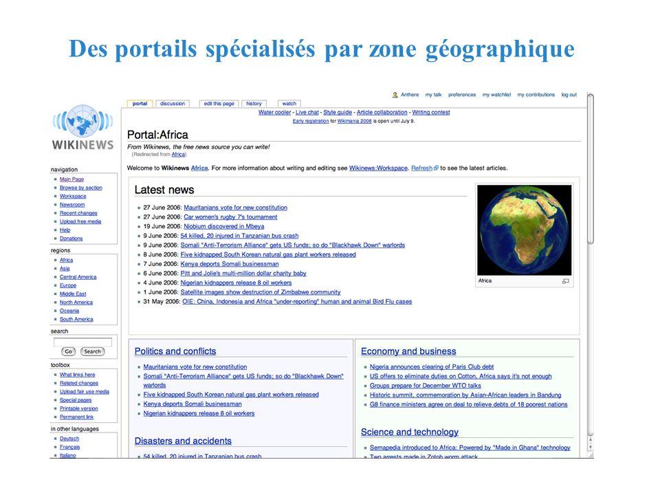 RMLL - Juillet 2006 - Florence Devouard Des portails spécialisés par zone géographique