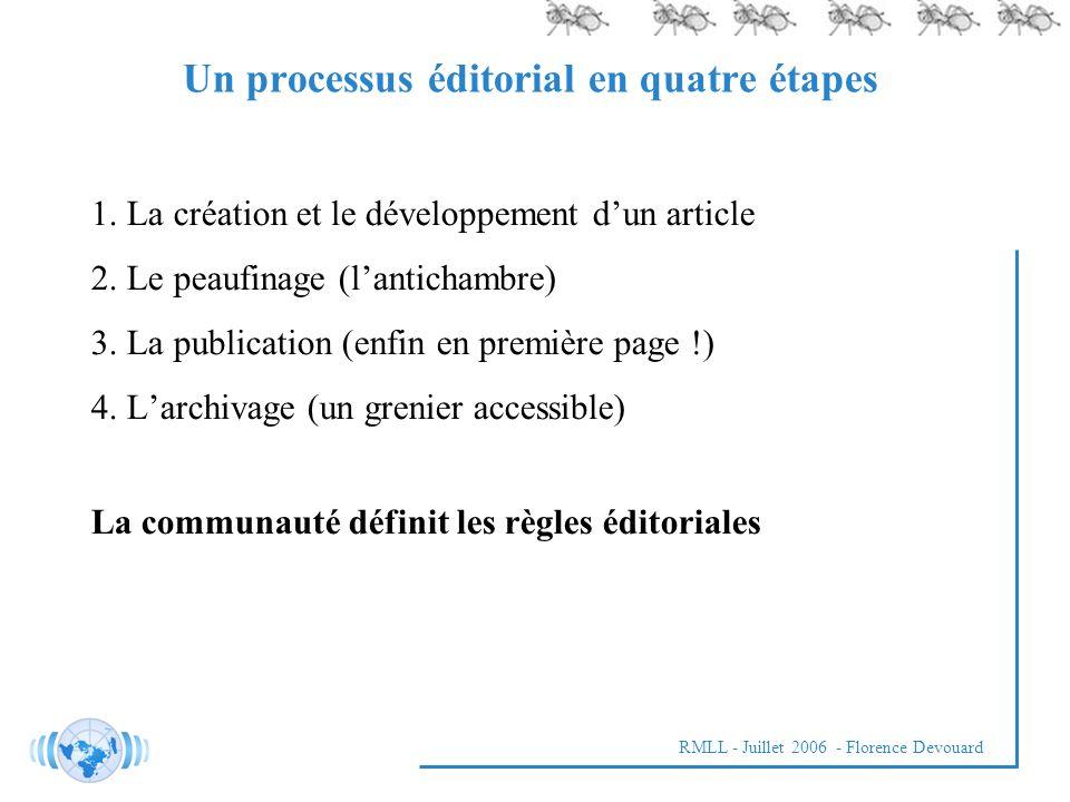 RMLL - Juillet 2006 - Florence Devouard 1.La création et le développement dun article 2.