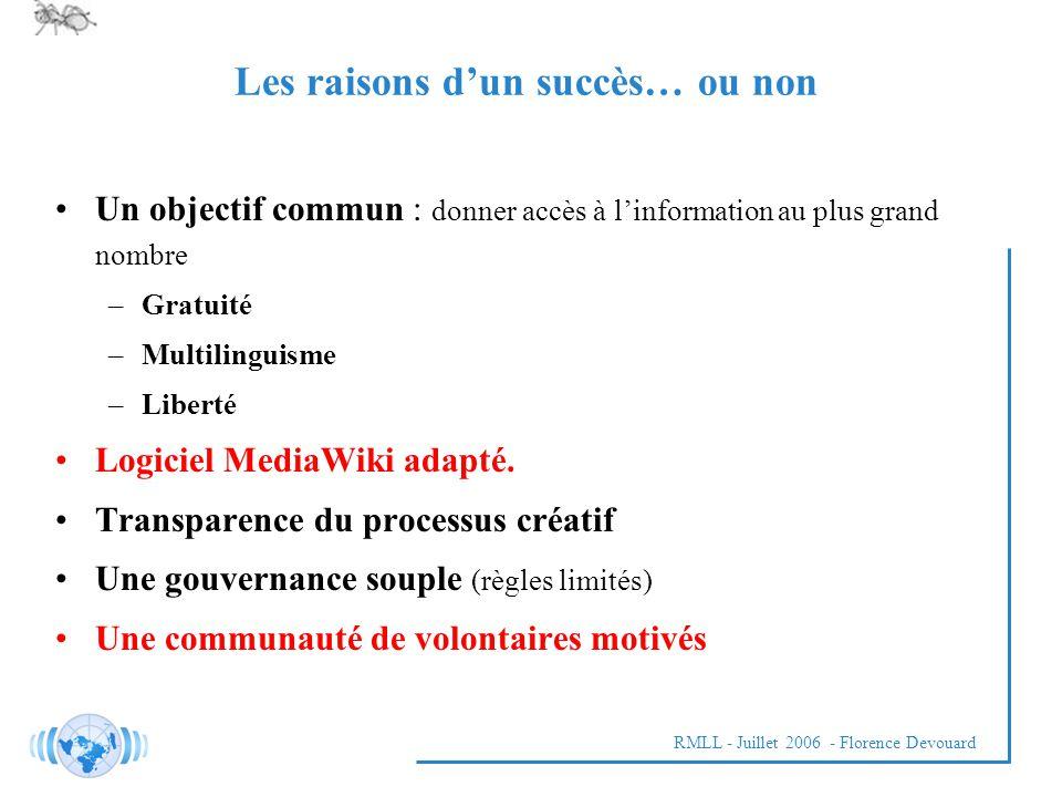 RMLL - Juillet 2006 - Florence Devouard Les raisons dun succès… ou non Un objectif commun : donner accès à linformation au plus grand nombre –Gratuité –Multilinguisme –Liberté Logiciel MediaWiki adapté.