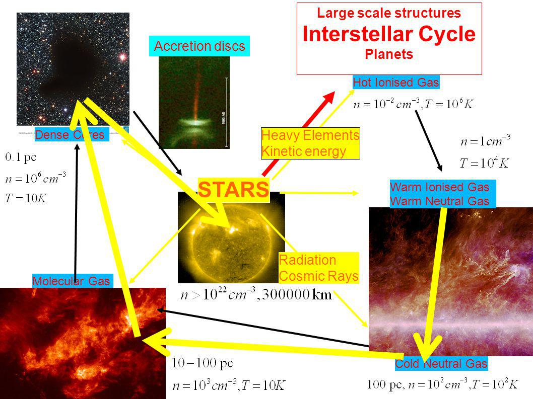 Hot Ionised Gas Molecular Gas Dense Cores Large scale structures Interstellar Cycle Planets Warm Ionised Gas Warm Neutral Gas Cold Neutral Gas STARS H