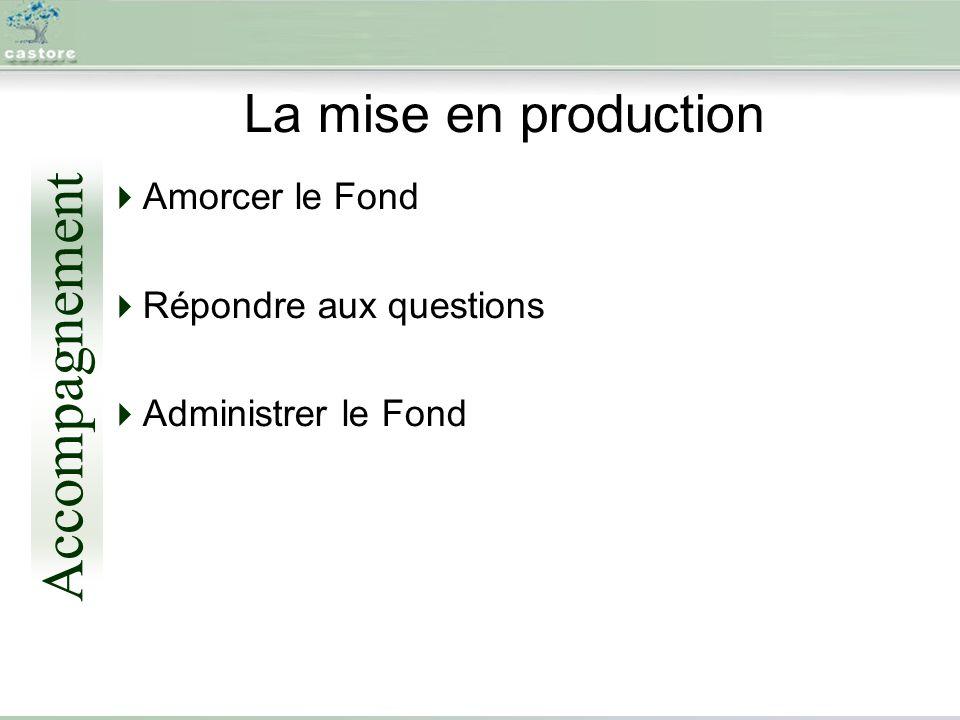 La mise en production Amorcer le Fond Répondre aux questions Administrer le Fond Accompagnement