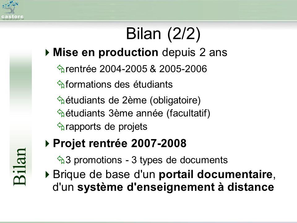 Bilan (2/2) Mise en production depuis 2 ans rentrée 2004-2005 & 2005-2006 formations des étudiants étudiants de 2ème (obligatoire) étudiants 3ème année (facultatif) rapports de projets Projet rentrée 2007-2008 3 promotions - 3 types de documents Brique de base d un portail documentaire, d un système d enseignement à distance Bilan