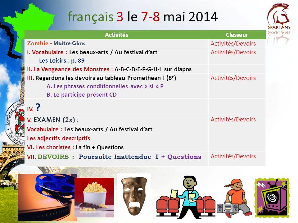 français 5H/AP ® le 8 mai 2014 ActivitésClasseur CHANTONS!: Zombie Maître Gims COIN CULTUREL : Philippe Gilbert http://www.youtube.com/watch?v=8FgtgoO6Lsg I.