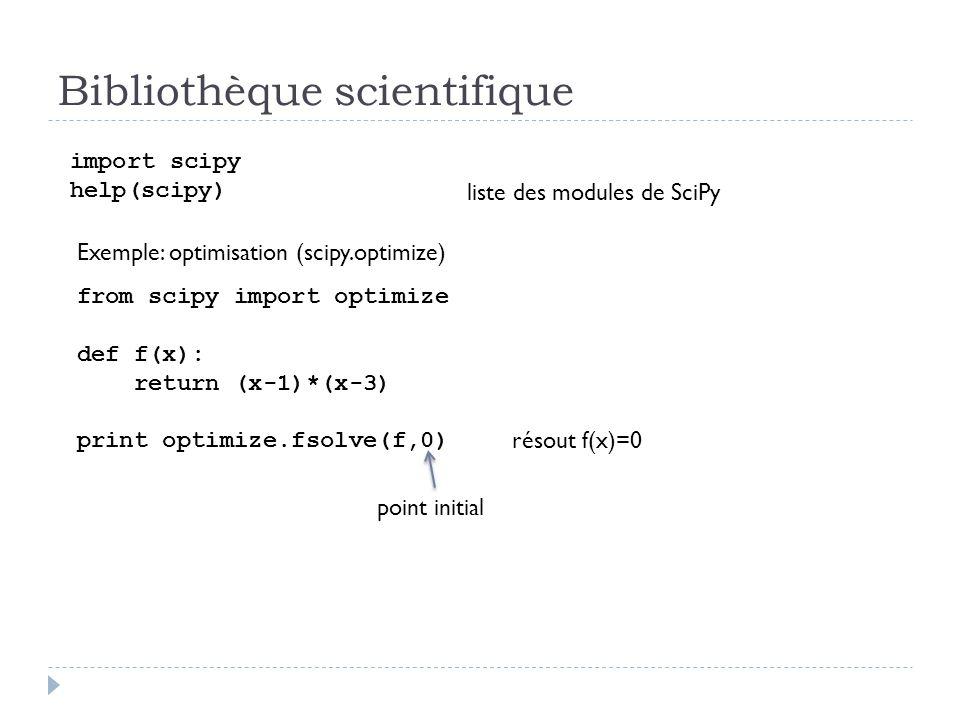 Bibliothèque scientifique import scipy help(scipy) liste des modules de SciPy Exemple: optimisation (scipy.optimize) from scipy import optimize def f(