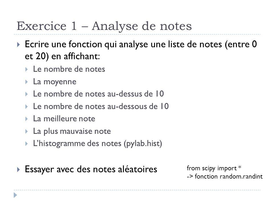 Exercice 1 – Analyse de notes Ecrire une fonction qui analyse une liste de notes (entre 0 et 20) en affichant: Le nombre de notes La moyenne Le nombre