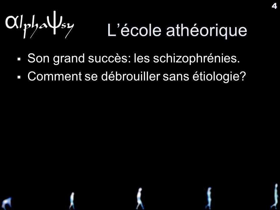 4 Lécole athéorique Son grand succès: les schizophrénies. Comment se débrouiller sans étiologie?