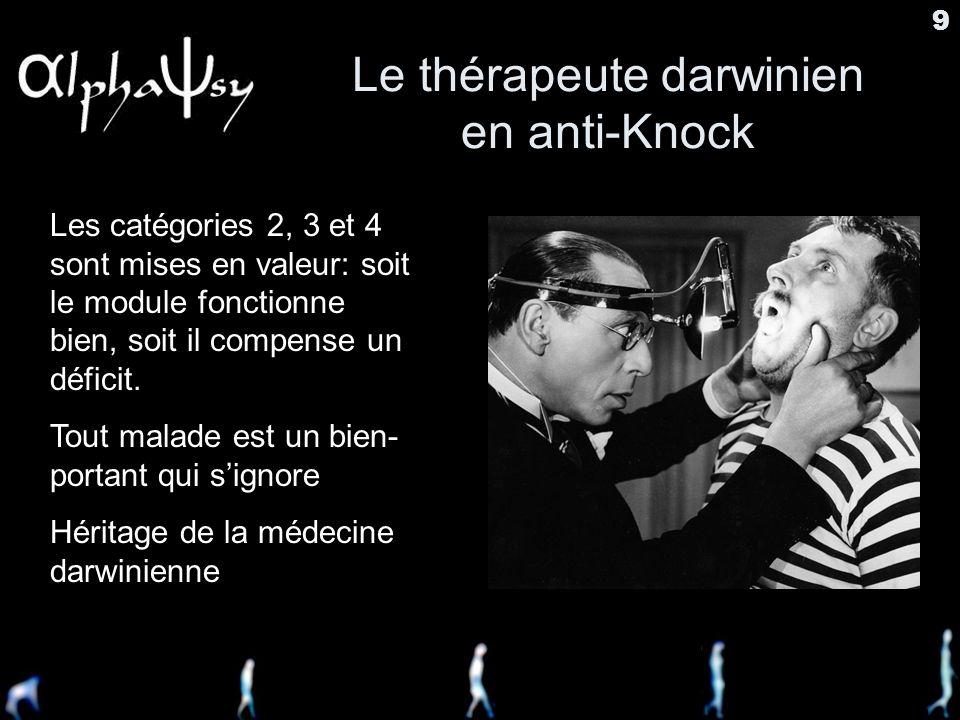 9 Le thérapeute darwinien en anti-Knock Les catégories 2, 3 et 4 sont mises en valeur: soit le module fonctionne bien, soit il compense un déficit.