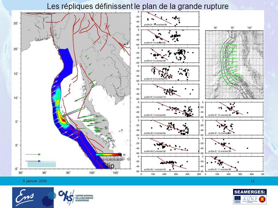 5 janvier 200611 Les répliques définissent le plan de la grande rupture Modeled Observed