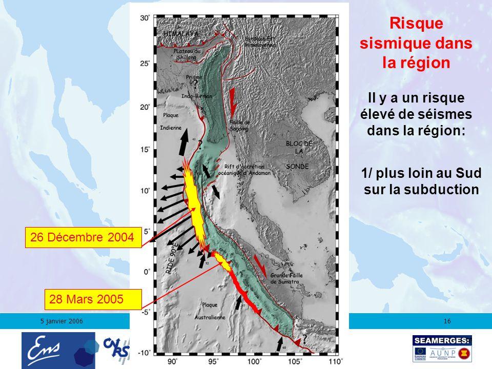 5 janvier 200616 Risque sismique dans la région 1/ plus loin au Sud sur la subduction 28 Mars 2005 26 Décembre 2004 Il y a un risque élevé de séismes dans la région: