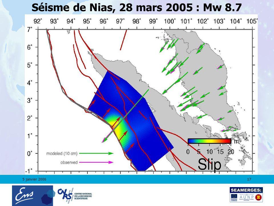5 janvier 200617 Séisme de Nias, 28 mars 2005 : Mw 8.7