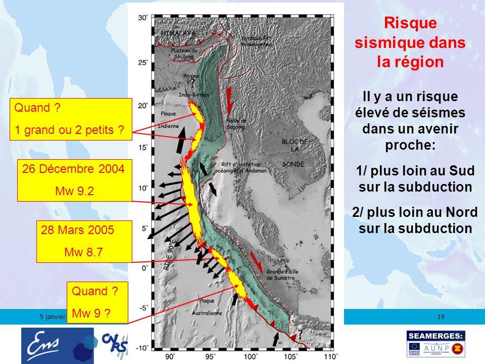 5 janvier 200619 2/ plus loin au Nord sur la subduction 28 Mars 2005 Mw 8.7 26 Décembre 2004 Mw 9.2 Quand .