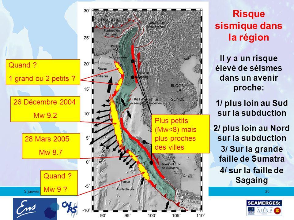 5 janvier 200620 3/ Sur la grande faille de Sumatra 4/ sur la faille de Sagaing 28 Mars 2005 Mw 8.7 26 Décembre 2004 Mw 9.2 Quand .