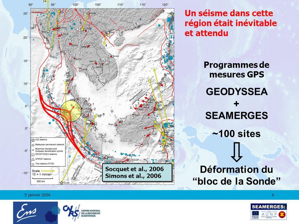 5 janvier 20066 Un séisme dans cette région était inévitable et attendu Programmes de mesures GPS GEODYSSEA + SEAMERGES ~100 sites Déformation du bloc de la Sonde Socquet et al., 2006 Simons et al., 2006 Socquet et al., 2006 Simons et al., 2006