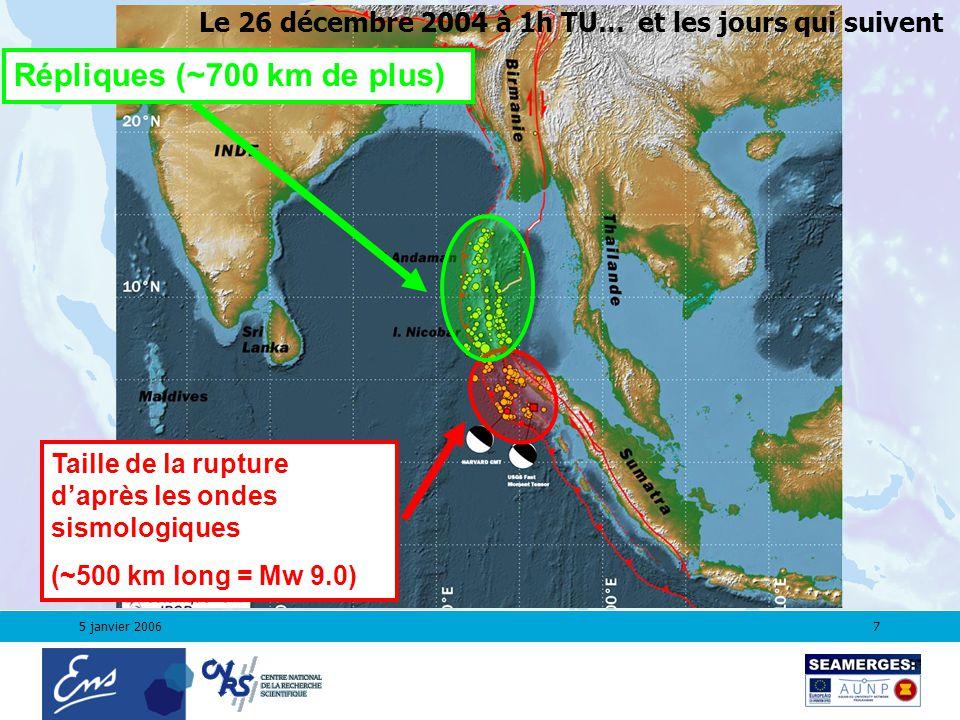 5 janvier 20067 Taille de la rupture daprès les ondes sismologiques (~500 km long = Mw 9.0) Répliques (~700 km de plus) et les jours qui suivent Le 26 décembre 2004 à 1h TU…