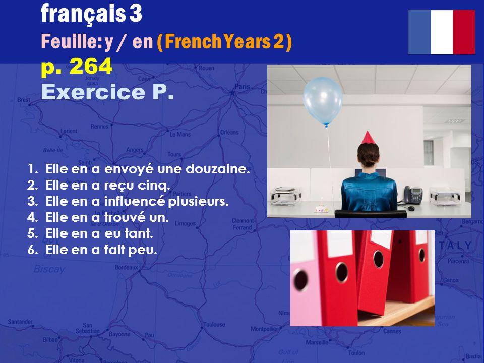 français 3 Feuille: y / en (French Years 2) p.264 Exercice P.