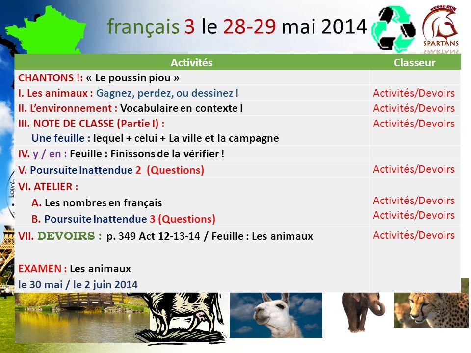 français 3 le 28-29 mai 2014 ActivitésClasseur CHANTONS !: « Le poussin piou » I. Les animaux : Gagnez, perdez, ou dessinez !Activités/Devoirs II. Len