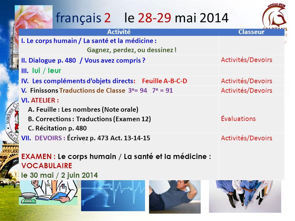 français 2 le 28-29 mai 2014 ActivitéClasseur I. Le corps humain / La santé et la médicine : Gagnez, perdez, ou dessinez ! II. Dialogue p. 480 / Vous