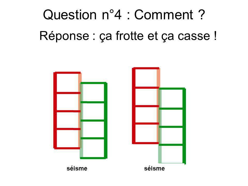 Question n°4 : Comment ? séismeOn continue séisme Réponse : ça frotte et ça casse !