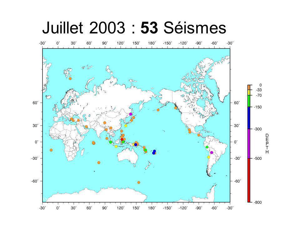 Juillet 2003 : 53 Séismes