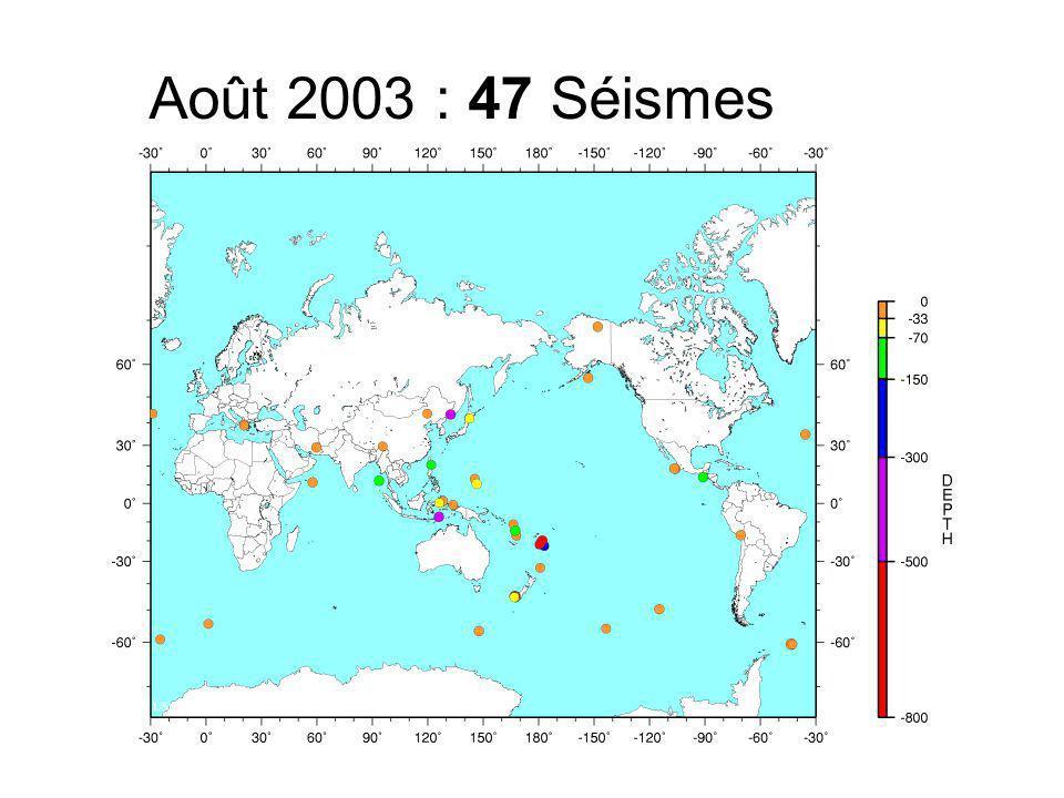 Août 2003 : 47 Séismes