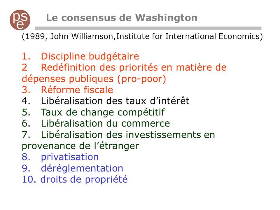 (1989, John Williamson,Institute for International Economics) 1. Discipline budgétaire 2 Redéfinition des priorités en matière de dépenses publiques (