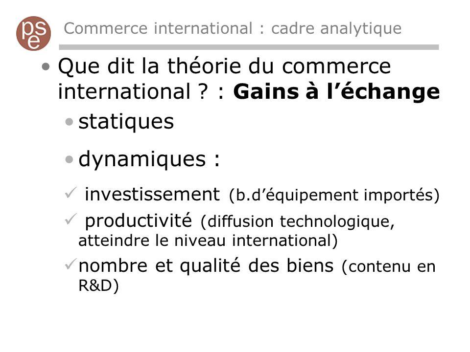 Commerce international : cadre analytique Que dit la théorie du commerce international ? : Gains à léchange statiques dynamiques : investissement (b.d