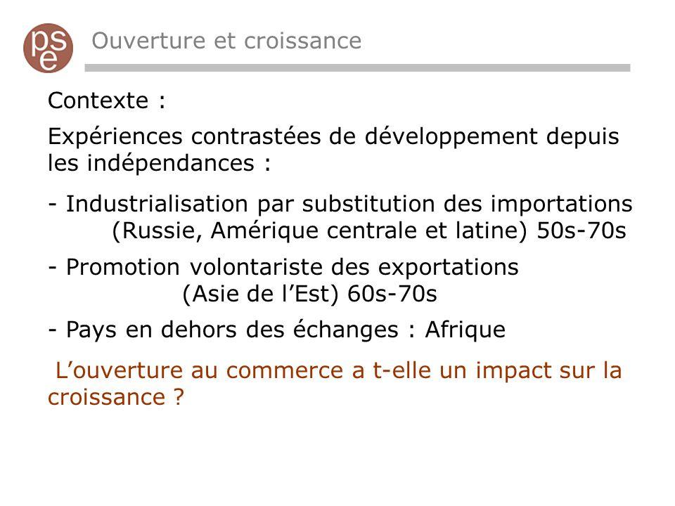 Ouverture et croissance Contexte : Expériences contrastées de développement depuis les indépendances : - Industrialisation par substitution des import