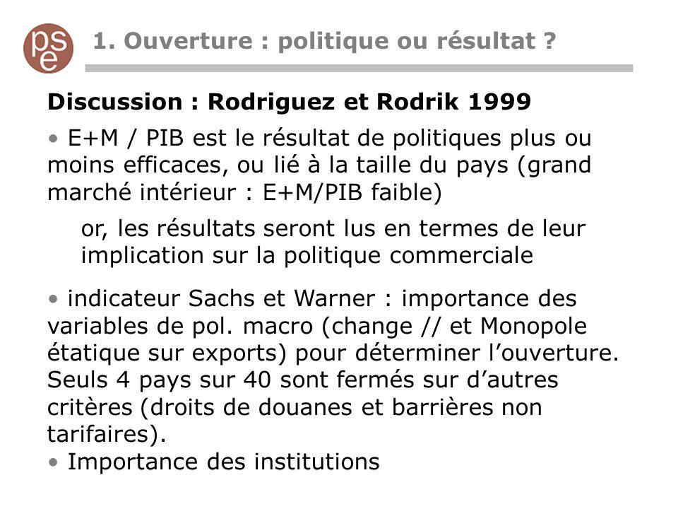 Causalité T=(E+M)/PIB croissance de Y Trouver un facteur qui influence la pol comm sans influencer la croissance Candidat 2 géographie Politiques Frankel et Romer 1999