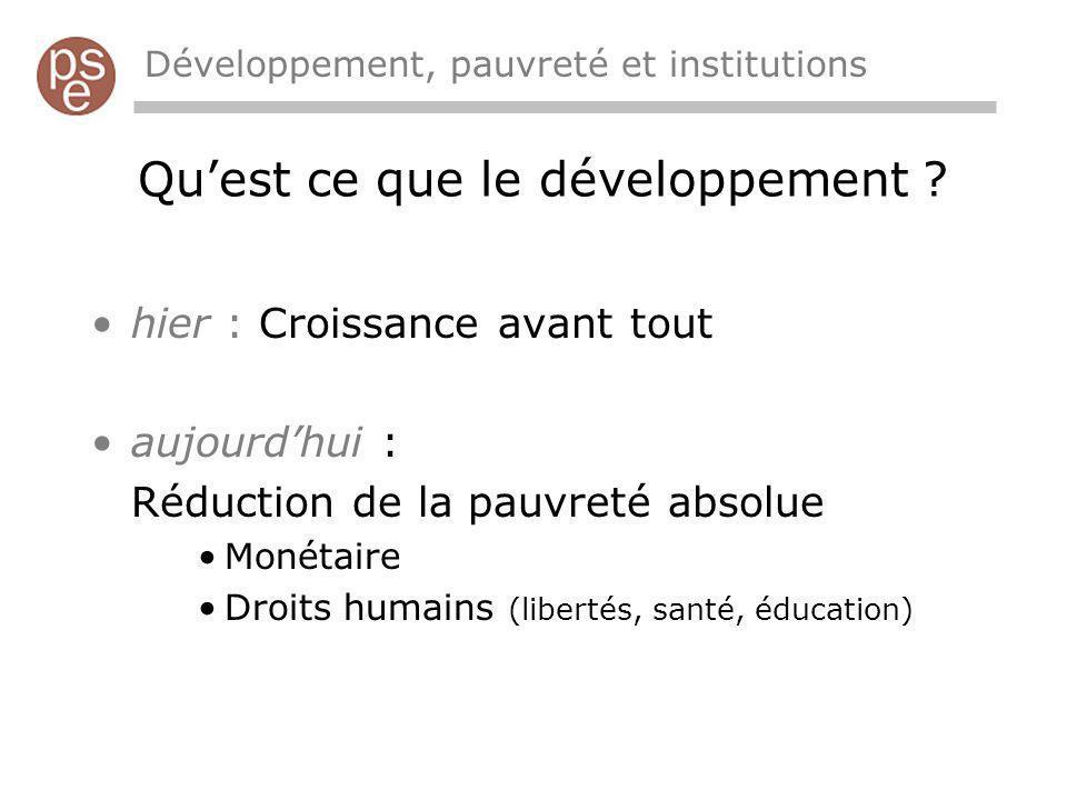 Quest ce que le développement ? Développement, pauvreté et institutions hier : Croissance avant tout aujourdhui : Réduction de la pauvreté absolue Mon