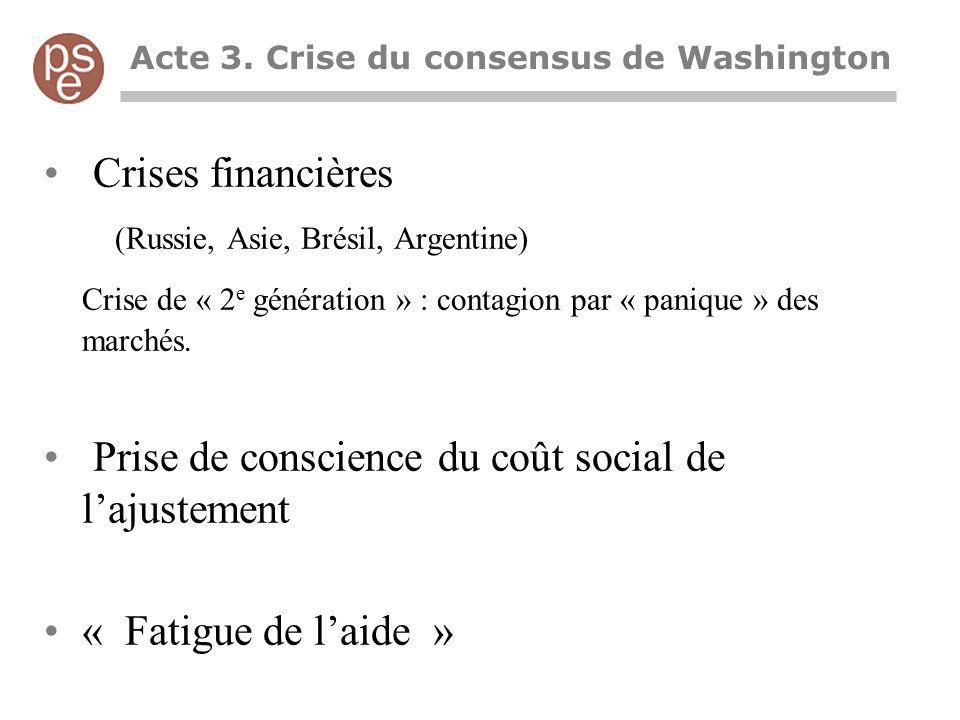 Acte 3. Crise du consensus de Washington Crises financières (Russie, Asie, Brésil, Argentine) Crise de « 2 e génération » : contagion par « panique »