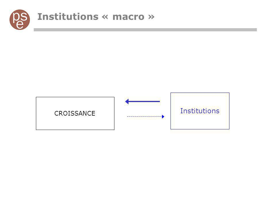 Institutions « macro » CROISSANCE Institutions