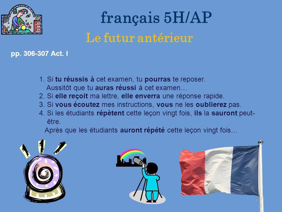 français 5H/AP le 29-30 janvier 2013 ActivitéClasseur CHANSON : « Attention au départ » Les Enfoirés Act/Dev 2 I. Le conditionnel présent : Formation