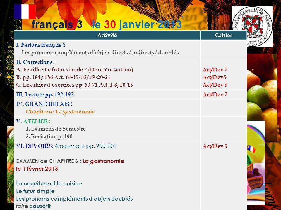 Annonces Importantes! 1. LE TEE-SHIRT AP: Le DESSIN FINAL… –Noémie + Madeleine-Claire: –Ordre Complet! Cette semaine! 2. VOYAGE EN FRANCE et ESPAGNE 2