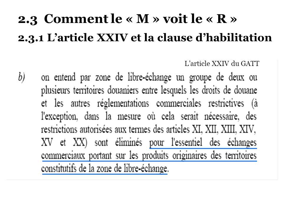 2.3 Comment le « M » voit le « R » 2.3.1 Larticle XXIV et la clause dhabilitation Larticle XXIV du GATT