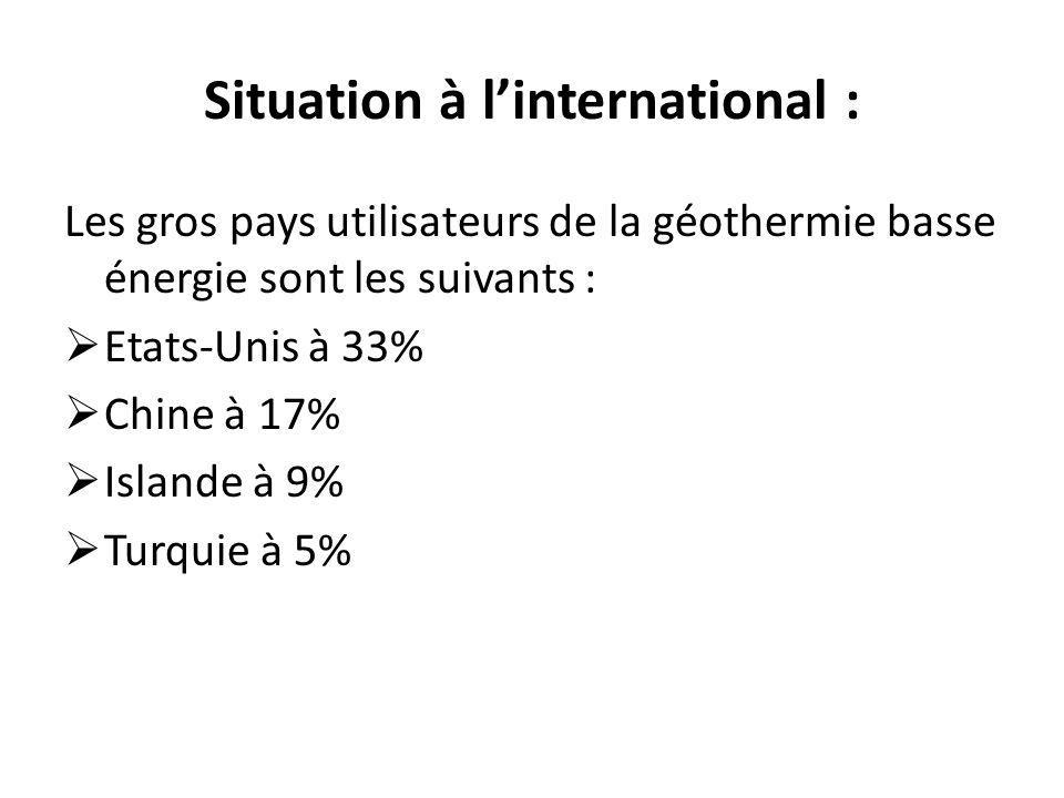 Situation à linternational : Les gros pays utilisateurs de la géothermie basse énergie sont les suivants : Etats-Unis à 33% Chine à 17% Islande à 9% T