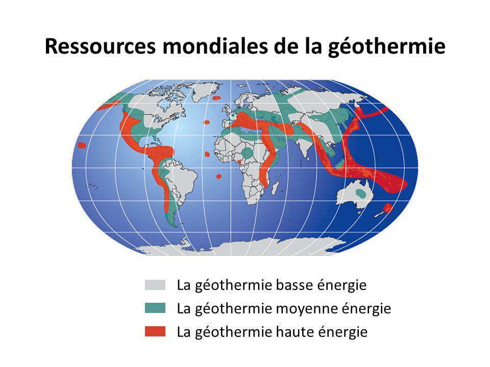 Ressources mondiales de la géothermie La géothermie basse énergie La géothermie moyenne énergie La géothermie haute énergie
