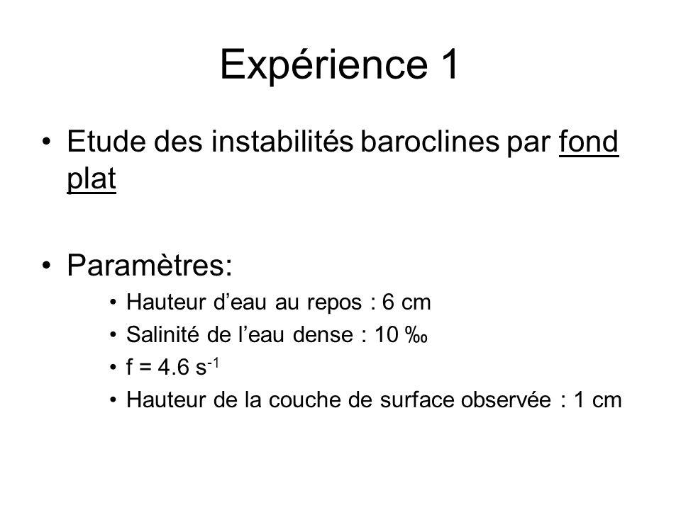 Expérience 1 Etude des instabilités baroclines par fond plat Paramètres: Hauteur deau au repos : 6 cm Salinité de leau dense : 10 f = 4.6 s -1 Hauteur de la couche de surface observée : 1 cm