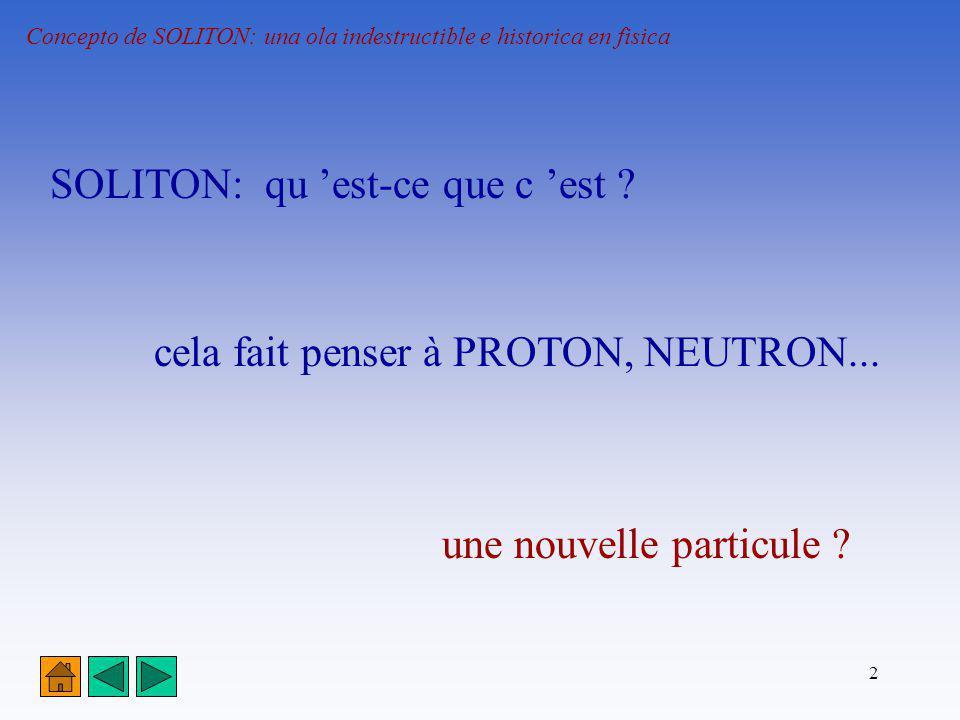 2 Concepto de SOLITON: una ola indestructible e historica en fisica SOLITON: qu est-ce que c est ? cela fait penser à PROTON, NEUTRON... une nouvelle