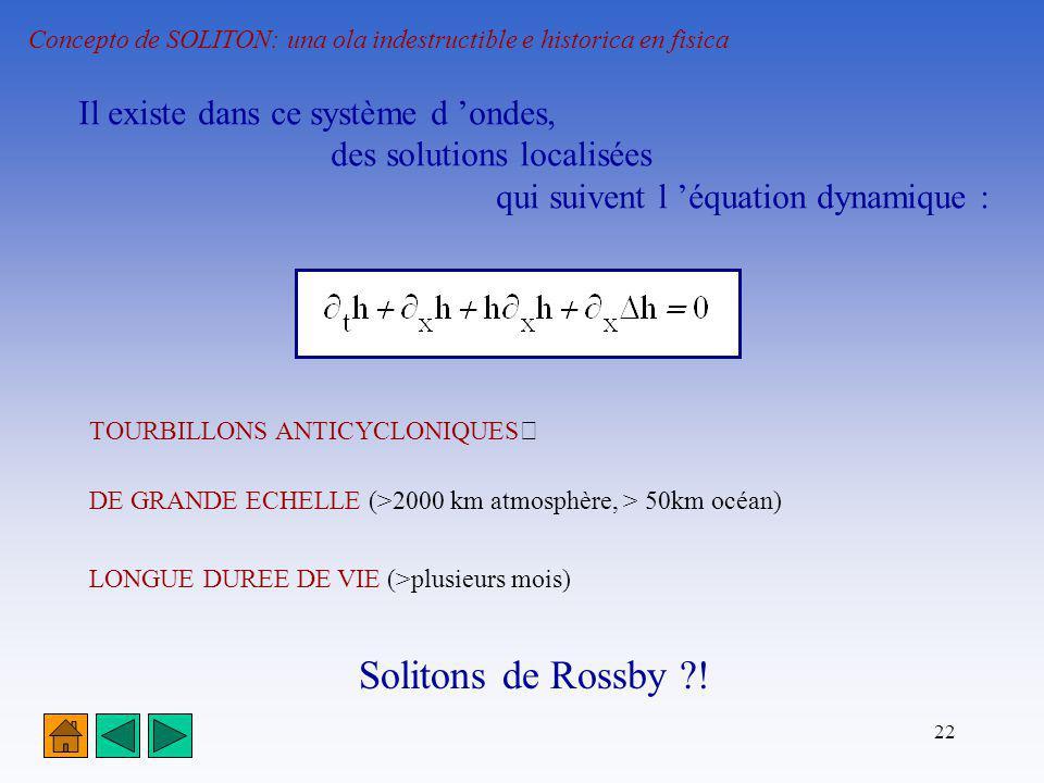 22 Concepto de SOLITON: una ola indestructible e historica en fisica Il existe dans ce système d ondes, des solutions localisées qui suivent l équatio