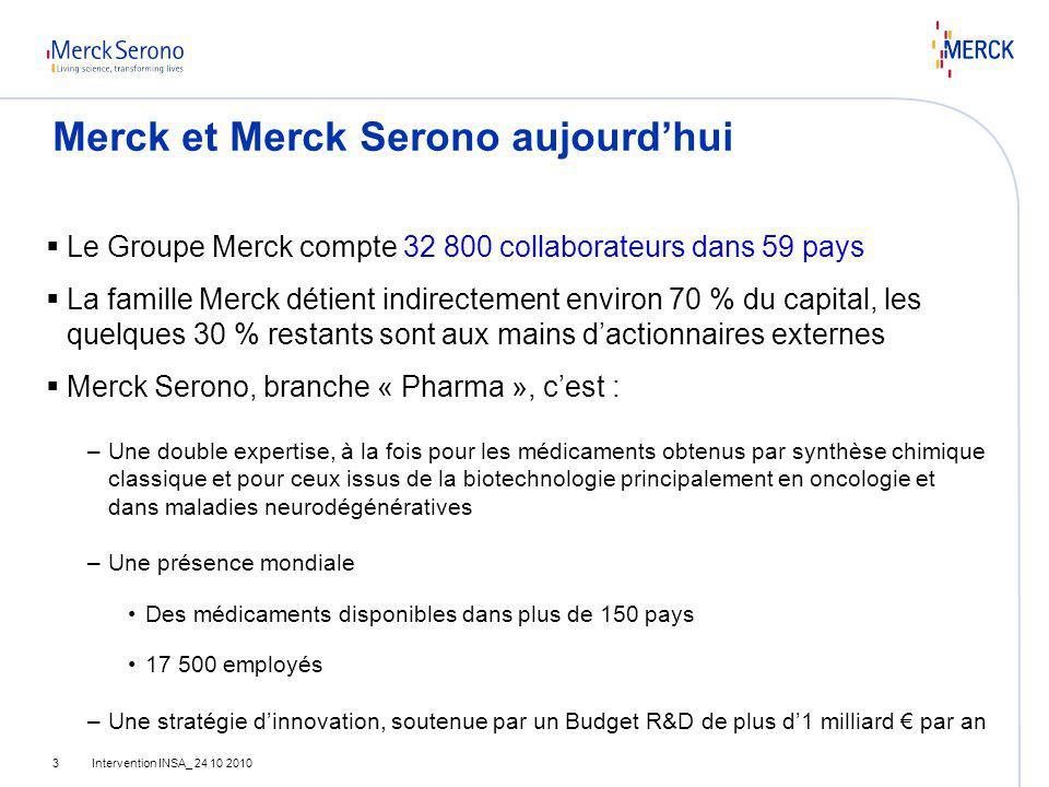 Intervention INSA_ 24 10 20103 Merck et Merck Serono aujourdhui Le Groupe Merck compte 32 800 collaborateurs dans 59 pays La famille Merck détient ind