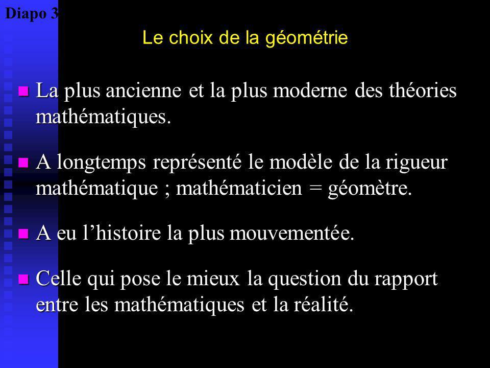 Le choix de la géométrie La plus ancienne et la plus moderne des théories mathématiques. La plus ancienne et la plus moderne des théories mathématique