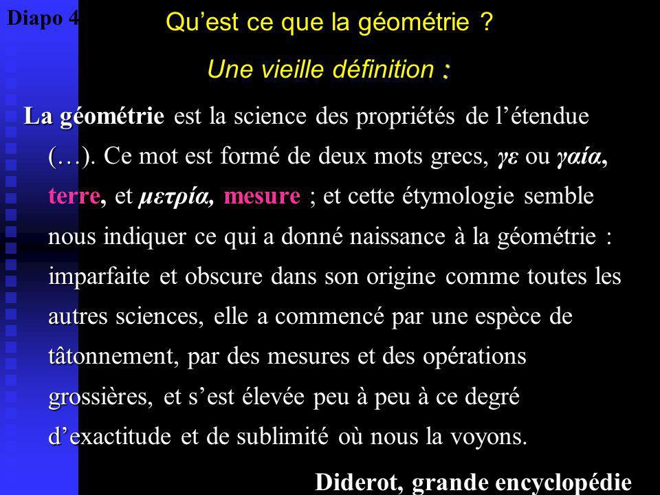 Quest ce que la géométrie ? : Une vieille définition : La géométrie est la science des propriétés de létendue (…). Ce mot est formé de deux mots grecs