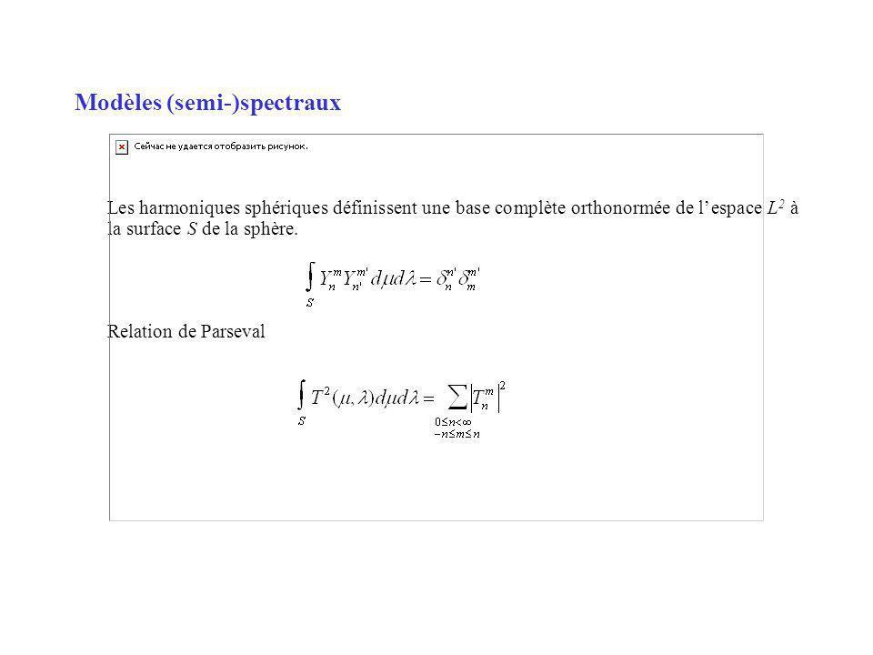 Modèles (semi-)spectraux Les harmoniques sphériques définissent une base complète orthonormée de lespace L 2 à la surface S de la sphère.