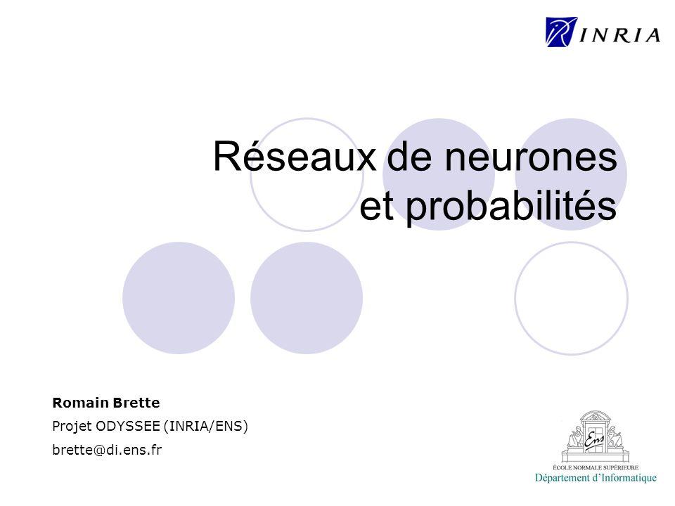 Modèles de neurones « Intègre-et-Tire »: V(t-) = seuil V(t+) = V 0 Intégration synaptique: instantanée: courant synaptique: conductance synaptique: poids synaptique temps de la j e impulsion du neurone i potentiel « de réversion » ¿ d V d t = ¡ V + RI ( t ) I ( t ) = X i ; j w i ± ( t ¡ t j i ) I ( t ) = X i ; j w i G ( t ¡ t j i ) I ( t ) = X i ; j w i G ( t ¡ t j i )( E i ¡ V )