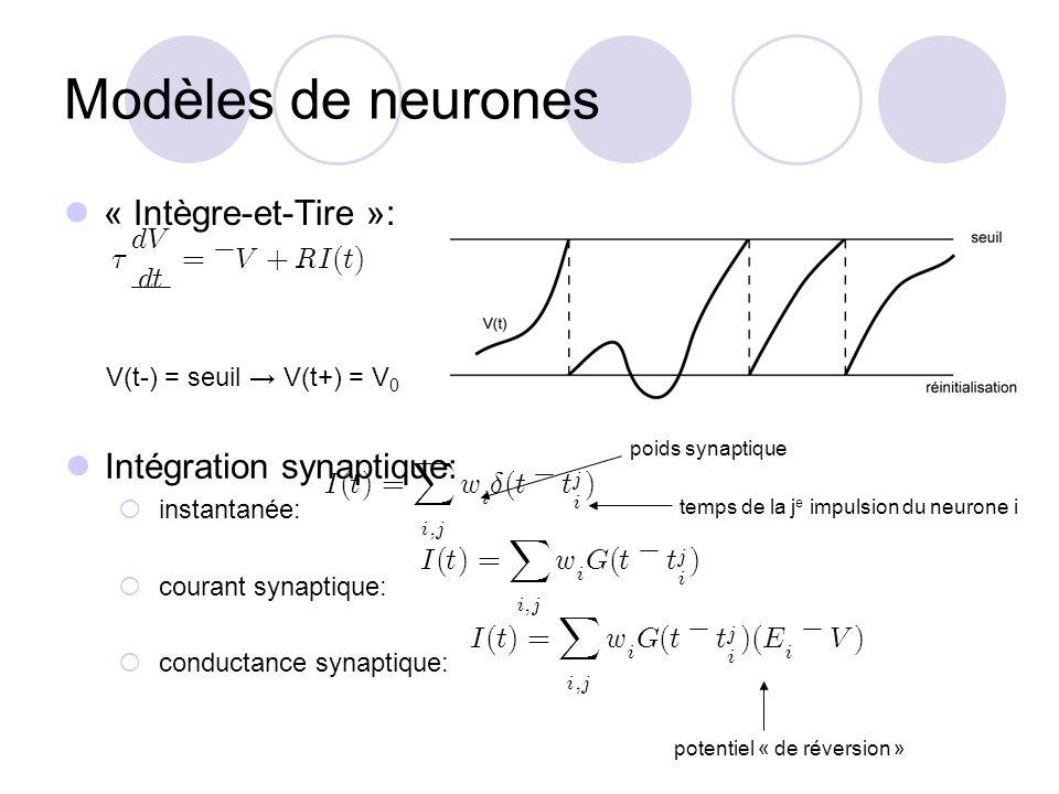 Modèles de neurones « Intègre-et-Tire »: V(t-) = seuil V(t+) = V 0 Intégration synaptique: instantanée: courant synaptique: conductance synaptique: po