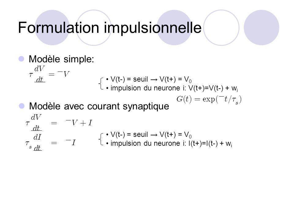 Formulation impulsionnelle V(t-) = seuil V(t+) = V 0 impulsion du neurone i: V(t+)=V(t-) + w i Modèle simple: Modèle avec courant synaptique V(t-) = s