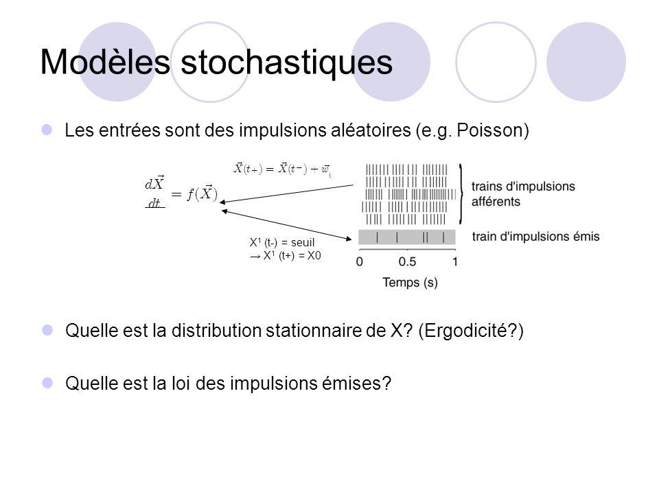 Modèles stochastiques Les entrées sont des impulsions aléatoires (e.g. Poisson) X 1 (t-) = seuil X 1 (t+) = X0 Quelle est la distribution stationnaire